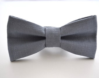 Mens Bowtie in Slate Linen, Blue Gray Bow Tie, Steel Blue Bow Tie, Gray Bow Tie, Groomsmen Bow Tie, Wedding Bowties
