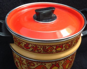 Francipans Enamel covered Double Boiler pans.  Orange and Gold Birds Hearts & Flowers.  Mid century, Eames era. France.  1970.