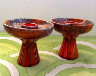 Vintage Pair Modernist Fat Lava Mod Candle Holder .  Orange Foam LAVA glazed pottery.  Mid century modern, Danish Modern, Eames era. 1960's.
