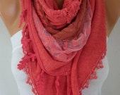 an exclusive design Pomegranate Flower Knitted Soft Scarf, Winter Shawl,Casual,Wedding ,Bridal Scarf,Cowl,Gift Ideas For Her,Women Scarves