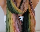 Ombre Scarf --Rainbow  Shawl Scarf - Batik Design - Cowl Scarf  bridesmaid gift Women's fashion -  Pompom Scarf