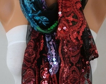 Black Tulle Colorful Sequin Scarf,Wedding Shawl,Lace Scarf,Cowl, Bridesmaid gift Bridal Scrf Gift Ideas For Her Women Fashion Accessories