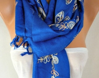 Royal Blue Embroidered Scarf Fall,Wedding Shaw,Bridal Scarf, Cowl Women Fashion Accessories Gift Ideas For Her Scarves Best selling item