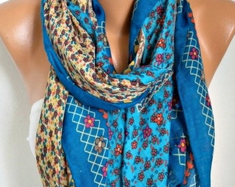 Blue Floral Cotton Scarf, Soft, Fall Summer Shawl,Cowl Oversized Wrap Gift Ideas For Her Women Fashion Accessories Mother Day Gift Scarves