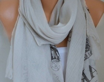 Paris Souvenir Cotton Scarf,Soft,Summer Shawl,Soft,Beach Wrap,Cowl Oversized Wrap Gift Ideas For Her Women Fashion Accessories Women Scarves