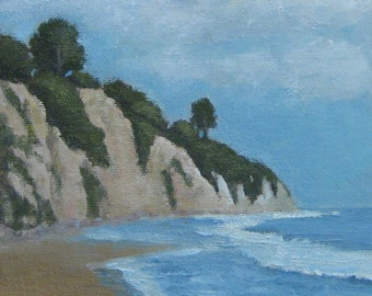 Original Oil Painting Santa Barbara California Hendry's Beach Landscape Seascape Great Gift for Him or Her Jennifer Boswell