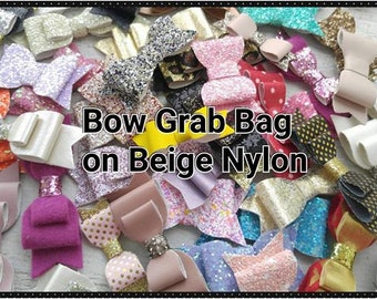 Bow Grab Bag- Beige Nylon Headbands- One size fits most- Glitter, Felt, Faux Leather Bow Surprise Mix Grab Bags- Baby Bow Headbands
