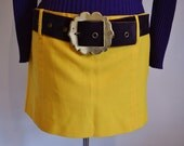 Bright yellow vintage micro mini short hipster skirt 1960s mod girl dollybird style