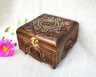 Jewelry box Wooden box Wedding jewelry box Ring box Jewelry box wood Wedding ring box Jewellery box Wooden jewelry box Square jewelry box B8