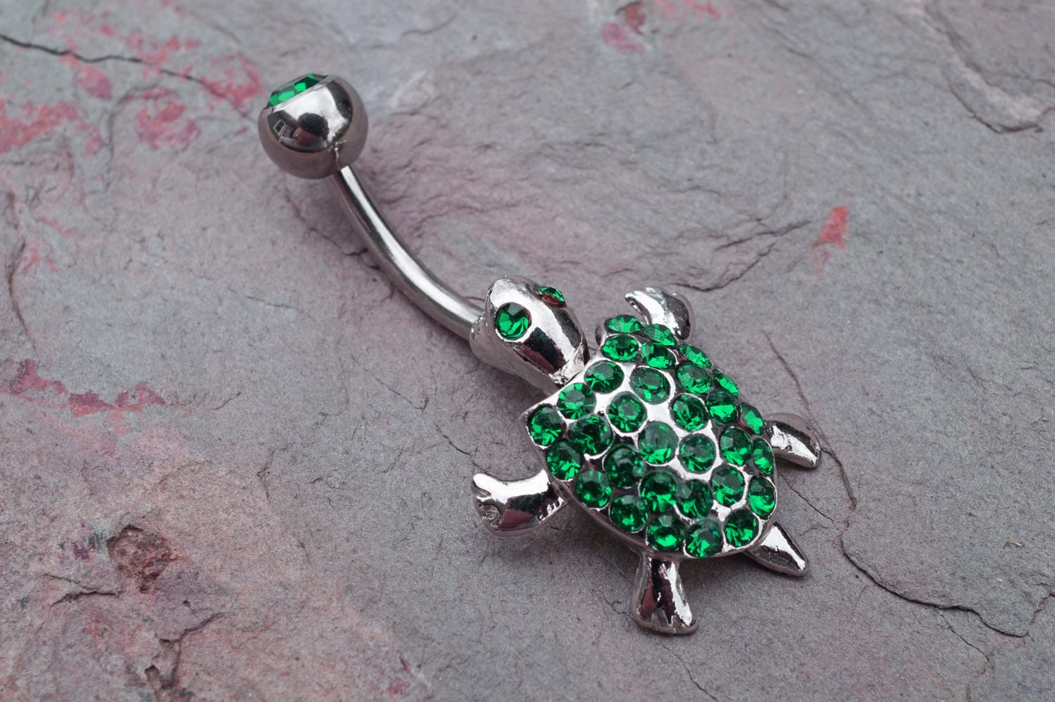 belly button rings emerald green turtle belly button jewelry