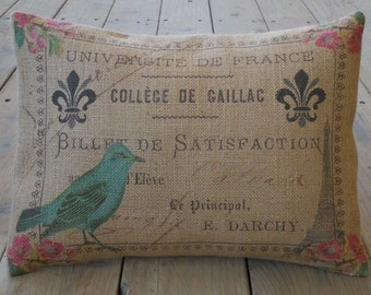 Paris Postmark Burlap Pillow, Shabby Chic,  INSERT INCLUDED