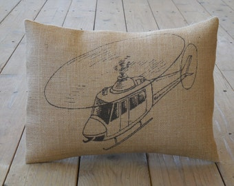 Helicopter Burlap Pillow, Aviation, Flying, Pilot, Man Cave, INSERT INCLUDED