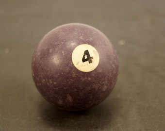 Vintage / Antique Clay Billiard Ball Purple Number 4, Standard Pool Ball Size (c.1910s) - Collectible, Home Decor, Altered Art