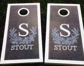 Stained Hops Monogram Cornhole Board Set with Bags -  Yard Game Brewery Home Brew Craft Beer Man Gift