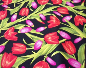 Tulips Galore Fabric Beautiful Colors on Black Background  New By The Fat Quarter BTFQ