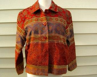 SUMMER SALE Burnt Orange Tapestry Jacket, Coldwater Creek, rich warm colors, sz S, vintage, like new