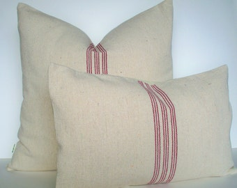 Red Grainsack Look Pillow Cover Red Stripe Grainsack Pillow Red Farmhouse Pillow