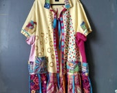 Summertime Fun Art Jacket Yellow Pink 2X 3X 4x Hand Painted Sun Lake Ocean Patchwork uPCYCLED bOHO cHIC Recycled Bohemian Funky
