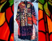 Hand Painted Mardi Gras Art Jacket Coat L XL 1X 2X Black Red Gold Purple Green Outsider Ralph Lauren Altered Couture Linen Duster Tribal