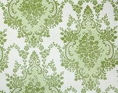 Retro Wallpaper by the Yard 70s Vintage Wallpaper - 1970s Green and White Floral Damask
