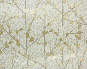 Retro Wallpaper by the Yard 70s Vintage Mylar Wallpaper – 1970s Gold Foil Pussy Willow Branches on White