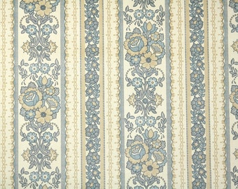 Retro Wallpaper by the Yard 70s Vintage Wallpaper - 1970s Blue and Beige Floral Stripes
