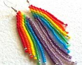 Beaded Rainbow Earrings - Free Shipping