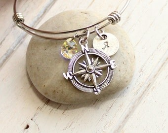 Compass Rose Bangle Bracelet with Personalized Initial