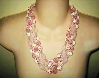 Vintage Raspberry Swarl Candy Coated Art Glass Beaded Necklace