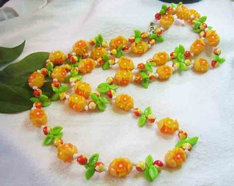 Vintage Long Fruit & Flower Celluloid Necklace 50s