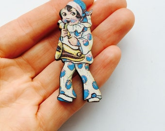 Kitsch Musical Circus Clown Jester in Blue and White Costume Wooden Brooch Pin Birthday Gift Stocking Filler Gifts Themes Party Present