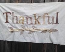 custom THANKFUL personalized wedding gift handmade mr mrs barn fabric  holiday decor wall hanging cottage banner bunting
