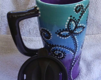 Ceramic Travel Mug Turquoise, purple, blue with Flowers, Swirls, and dots