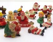 lot of 16 Miniature plastic Christmas decor village accessories  vintage santa claus snowman children CH1