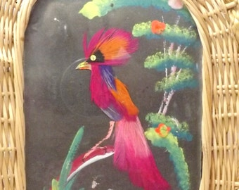 Feather Bird in wicker basket tray or wall art, hand painted background, vintage