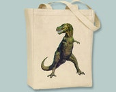 TRex, Tyrannosaurus Rex, Vintage Dinosaur Illustration Natural or Black Canvas Tote -- selection of sizes available
