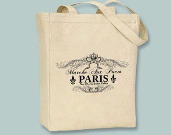 Paris Flea Market Marche Aux Puces Typography Canvas Tote - Selection of  image colors and sizes available