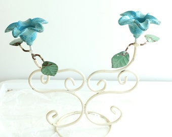 Shabby Chic Candle Holder - Tole Candelabra - Vintage Tole Candle Holder - Teal Floral Tole Ware