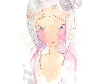 Fragile girl drawing, hand painted original art, whimsical girl illustration