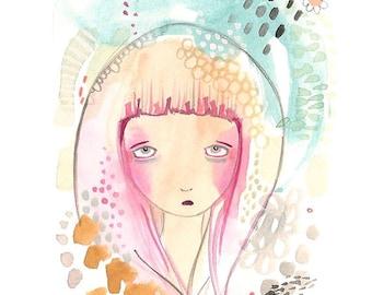 Abstract sad girl print, girl illustration, rain and storm print, weather art