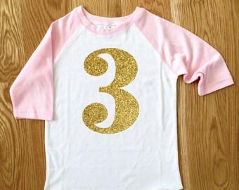 Big Sparkle Number Girls Birthday Tee 2nd Birthday Baseball Tee Third Birthday Raglan Tee Gold Glitter Birthday Shirt