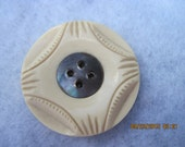 ANTIQUE Beautiful 1900's-20's Carved Ivory french Bakelite Button with Pearl Inlay....