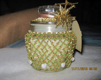 Hand Bead & Wired Clear Glass Candle Holder...Fragrance Lily of the Field