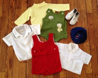Vintage Lot of Baby Boy Clothing and Shoes for Crafting or Display