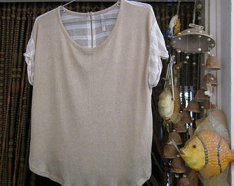 Boho Duo-Sided Top, Front is in Golden Tan, Back is Fenestrated and Shaded Ivory&Tan Featuring White Accented Back Zipper, Vintage – Medium