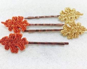 Autumn Hair Pins, Fall Bobby Pins, Fall Hair Pins, Glitter Hair Pins, Fall Barette's, Leaf Hair Pins, Thanksgiving Hair Accessories