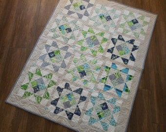 "Lap Quilt--baby quilt, green and blue, 37"" x 48"""