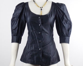 Vintage SAINT LAURENT PEASANT Blouse in Black Bubble sleeves Size 34