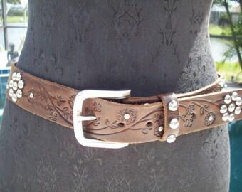 Brown Leather Studded Belt, By Nocona Belt Co.