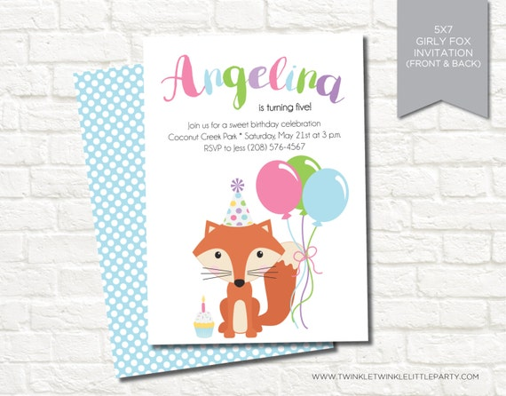 Girly Fox Birthday Party Digital Invitation
